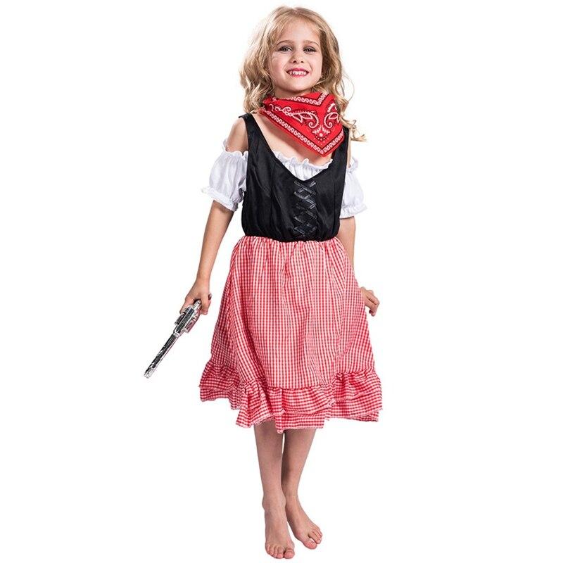 Cowgirl Western Cowboy Kids Girls Halloween Costume-in