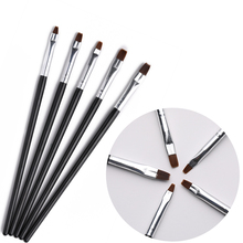 5Pcs/Set Nail Art UV Gel Polish Acrylic Brushes Professional Painting Pencil Black Handle French Brush DIY Design