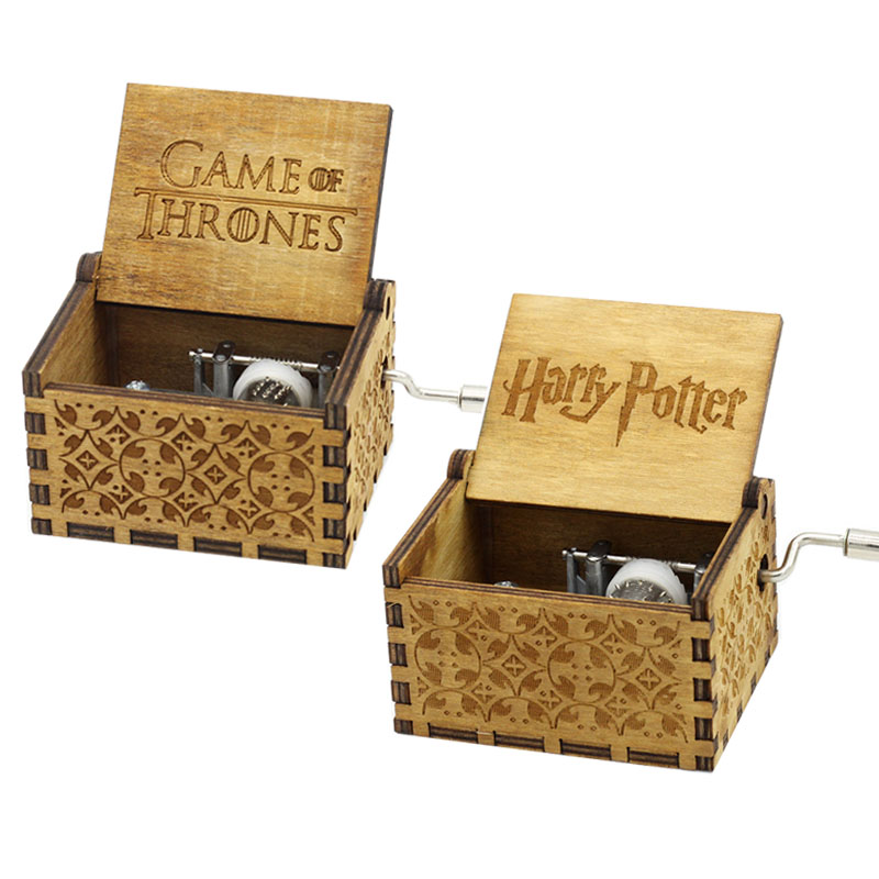Antique Antique Carved Wooden Hand Crank Harry Potter Music Box Game of Thrones Musical Boxes Toys Kids Creative Birthday Gifts