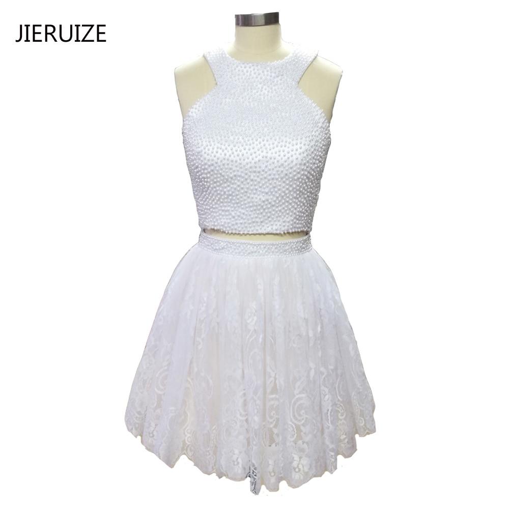 JIERUIZE Маленькое белое платье Белые кружевные короткие платья выпускного вечера 2017 Жемчуг 2 шт. Платья для выпускного вечера Короткие коктейльные платья