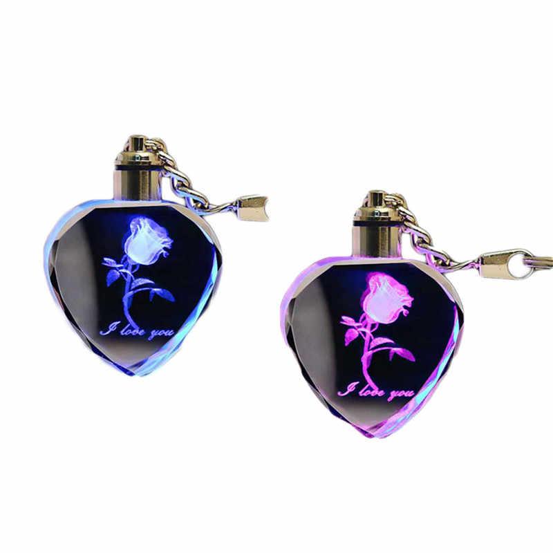 Красивый искусственный кристалл розовый брелок Ночная лампа светящаяся ночник для детской спальни detoration детская лампа маленький свет