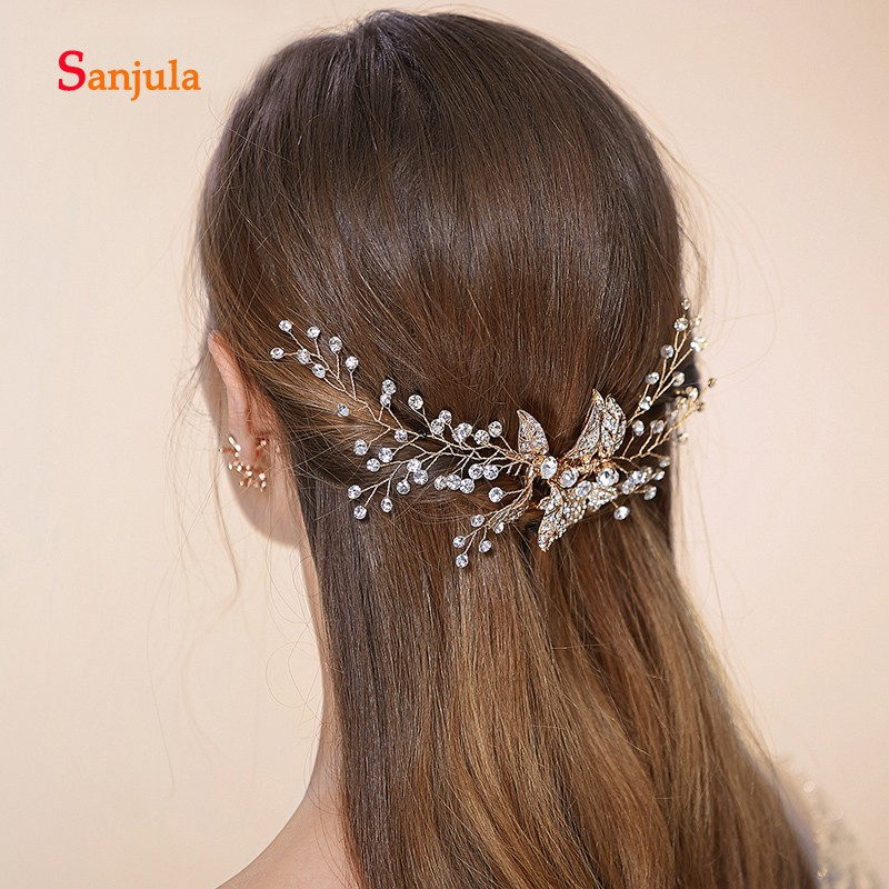 Gold Headband With Comb  Crystals Metal Leaves High Quality Wedding Accessories For Bridal Tocados Invitada Boda Pelo H187