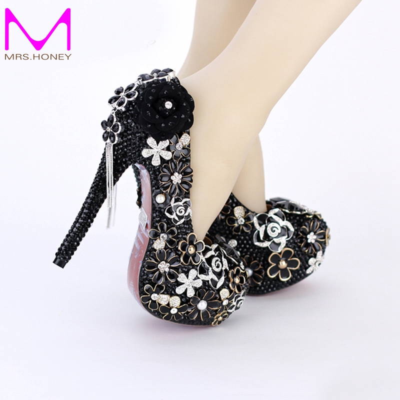 Womens High Heel Shoes Black Pearl Wedding Bridal Dress Shoes Round Toe Banquet Party Rhinestone Pumps 5 Inches Stiletto Heels autumn women s round toe party banquet crystal satin bridal shoes 10 0cm high heels wedding bowtie pumps stilettos jyg026
