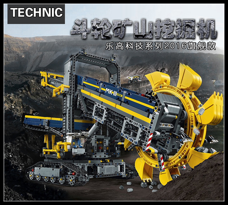 New LEPIN 20015 3929Pcs Technic Bucket Wheel Excavator Model Building assemble Kit Blocks Brick Compatible Toy Gift 42055 high quality excavator seal kit for komatsu pc200 5 bucket cylinder repair seal kit 707 99 45220