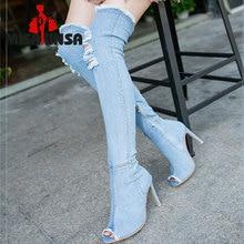8e5cf750cddcc MISAKINSA caliente botas de mujer verano otoño peep toe por encima de la rodilla  botas de alta calidad jeans botas de moda de lo.