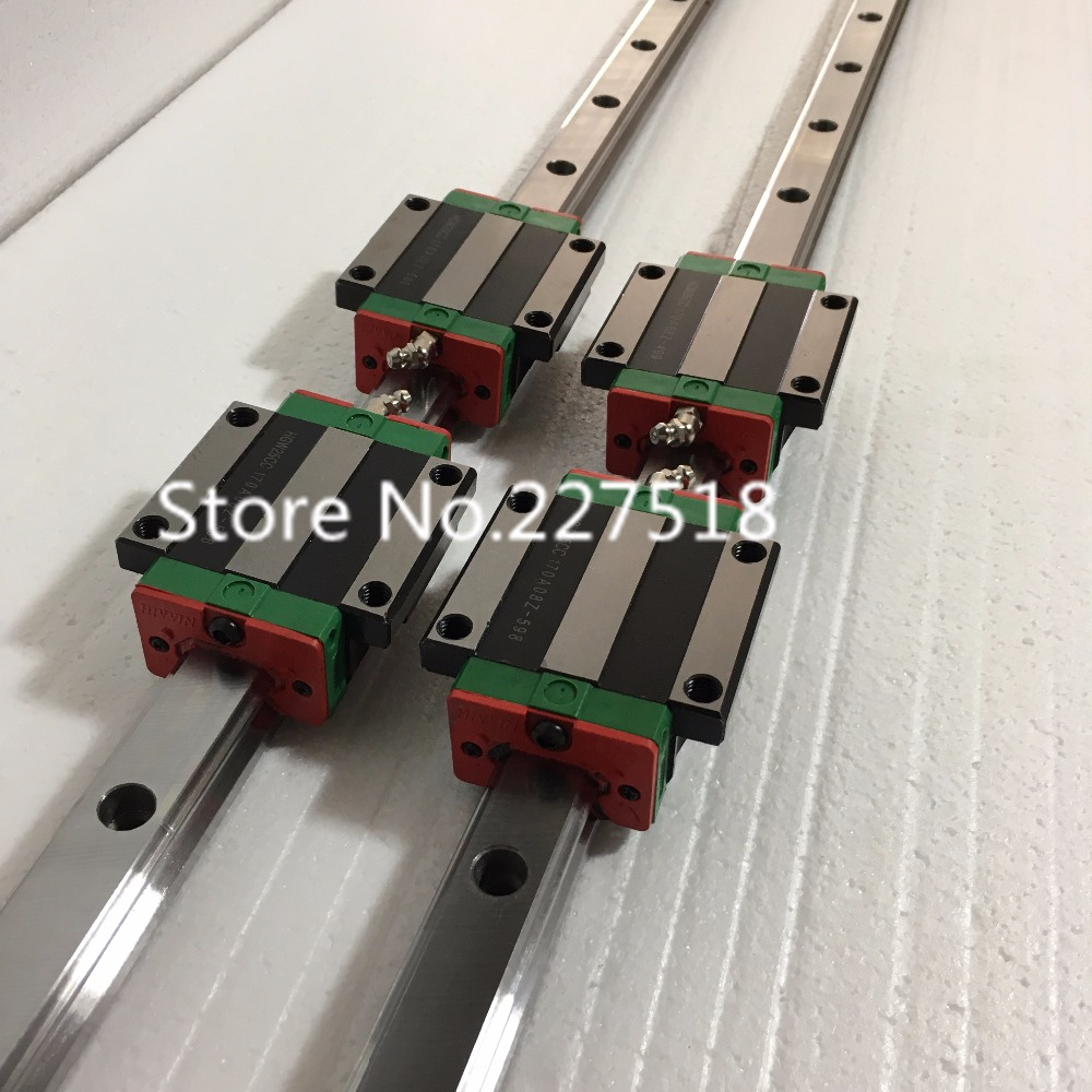 купить 15mm Type 2pcs HGR15 Linear Guide Rail + 4pcs carriage Block HGW15CC blocks for cnc router онлайн