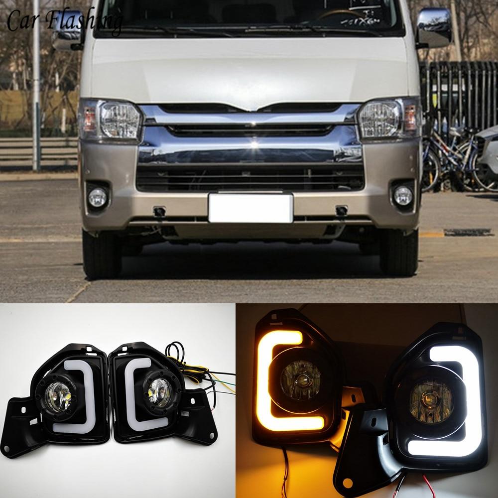 Car Flashing 2pcs LED 12V ABS Car Fog Lamp DRL Daytime