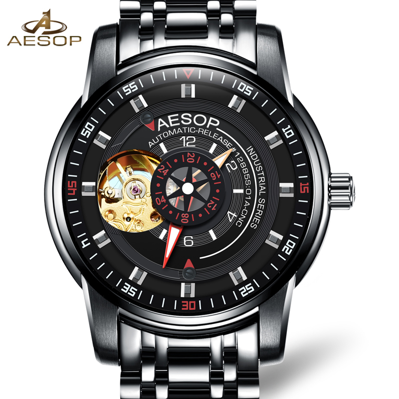 Luxury AESOP gold watch men skeleton sapphire black stainless steel waterproof Automatic machine wristwatch relogio masculine