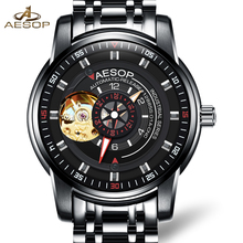 Роскошные AESOP золотые часы мужчины скелет сапфир черный нержавеющей стали водонепроницаемый автомат наручные часы relogio мужской