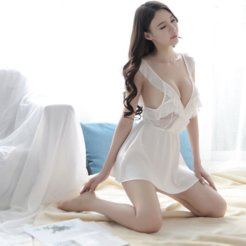 Sexy Pajamas Women wide brimmed Sling Nightdress Transparent Deep V Open Back Cross Hollow Sexy Lingerie in Babydolls Chemises from Novelty Special Use