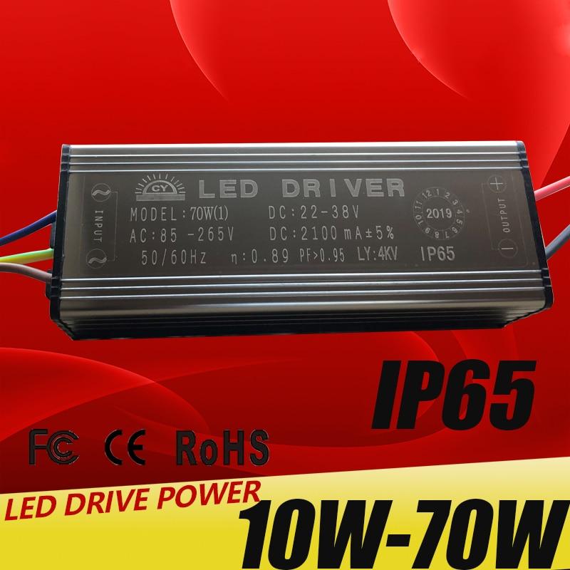 LED Driver 10W 20W 30W 50W 70W Adapter Transformer AC85V-265V To DC22-38V IP65 Power Supply 300mA 600mA 900mA 1500mA 2100mA