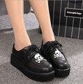 2017 новый череп классический Высокое Качество Женщины Платформа обувь femme Квартиры Creeper черный повседневная Мокасины 35-39