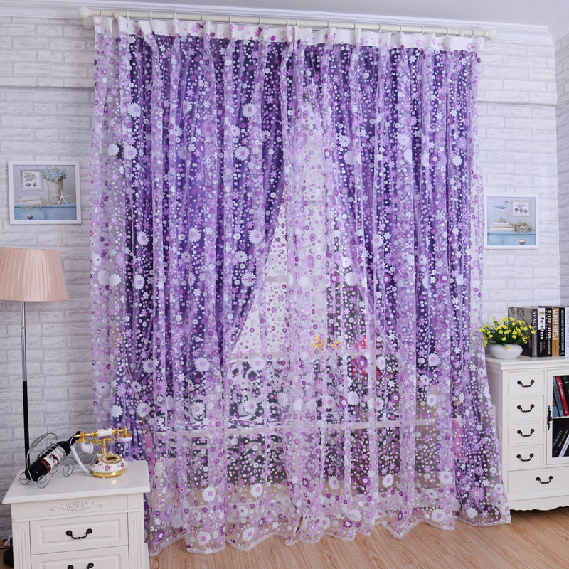 Curtains Print Floral Voile Door Cortinas Window Room Divider Living Room Curtain 18FEB6