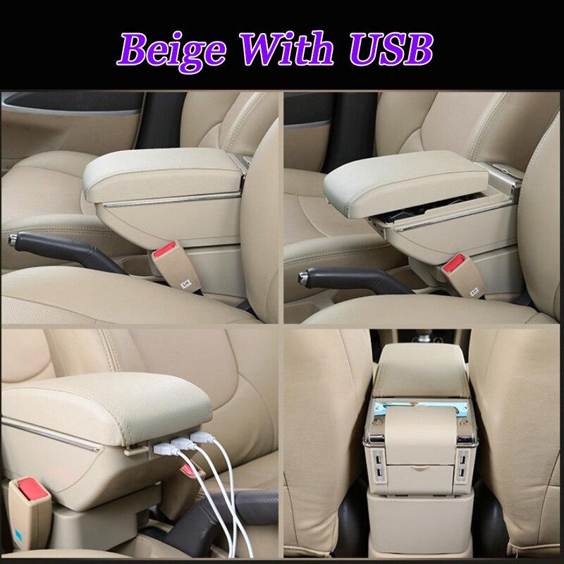YXYNB Accoudoir Central pour Toyota Vios Fs Yaris L 2014-2019 Accoudoir avec 7 Ports USB Et /Éclairage LED Int/égr/é Compartiment De Rangement De La Console Centrale Gris Beige