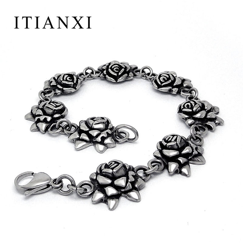 ITIANXI Vintage Rose Beads Bracelets Men And Women Biker Punk Jewelry Stainless Steel Casting Accessories Rock Bracelet Amulet