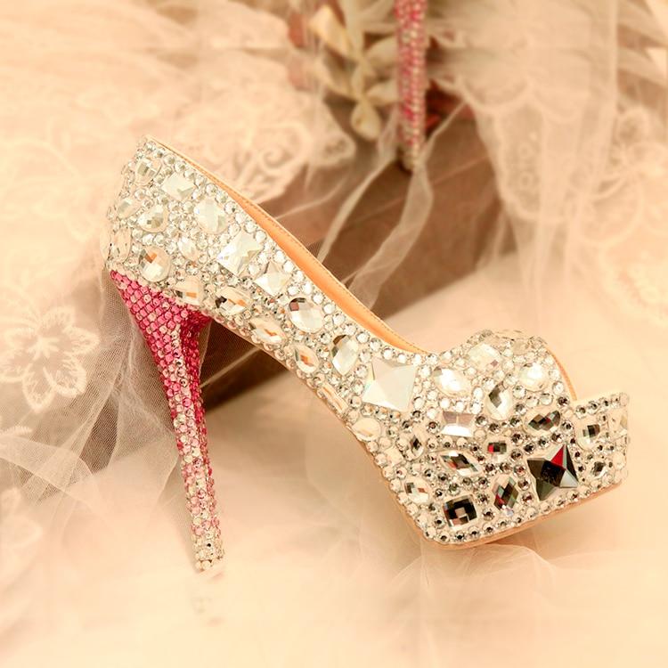 Luxury crystal Peep toe Women wedding shoes super high heels Fish Toe fashion shoes woman High