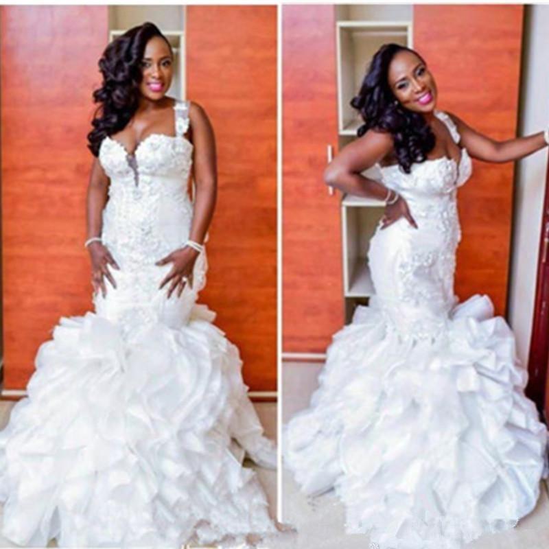 robe de mariee White spaghetti straps lace wedding dress mermaid Ruffle Wedding Dress bridal Dresses Vestido De Casamento
