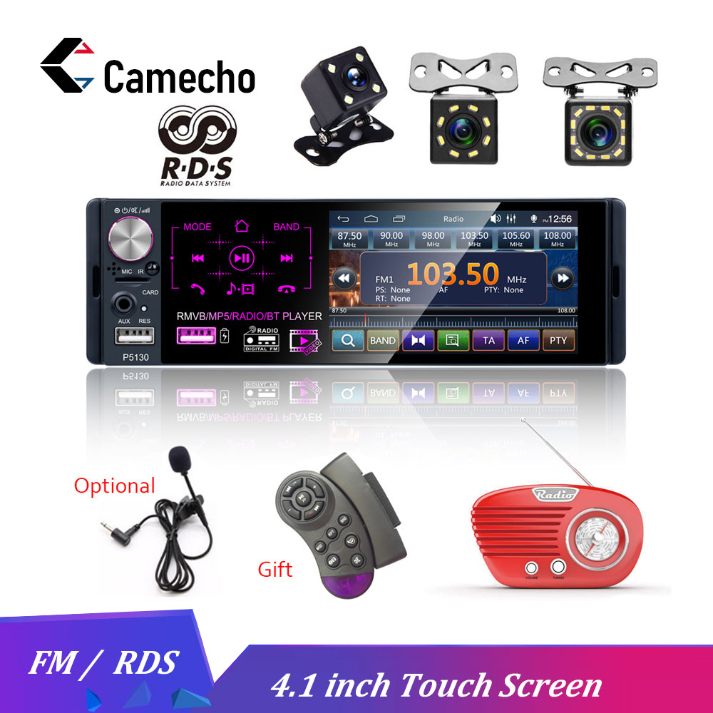 Camecho 4.1 1 Din Car Radio Bluetooth Touch Screen Autoradio RDS USB AUX MP5 Video Player MP3 Auto Audio Stereo Rearview Camera image