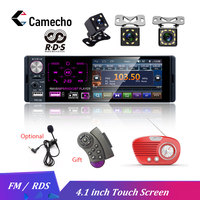 Camecho 4.1 1 Din Car Radio Bluetooth Touch Screen Autoradio RDS USB AUX MP5 Video Player MP3 Auto Audio Stereo Rearview Camera