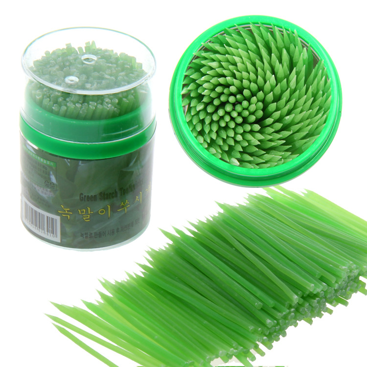 Beige/Green Korean Crystal Corn Starch Toothpick Mondadientes Edible Eco-Friendly 200pcs in Plastic Box Free Shipping
