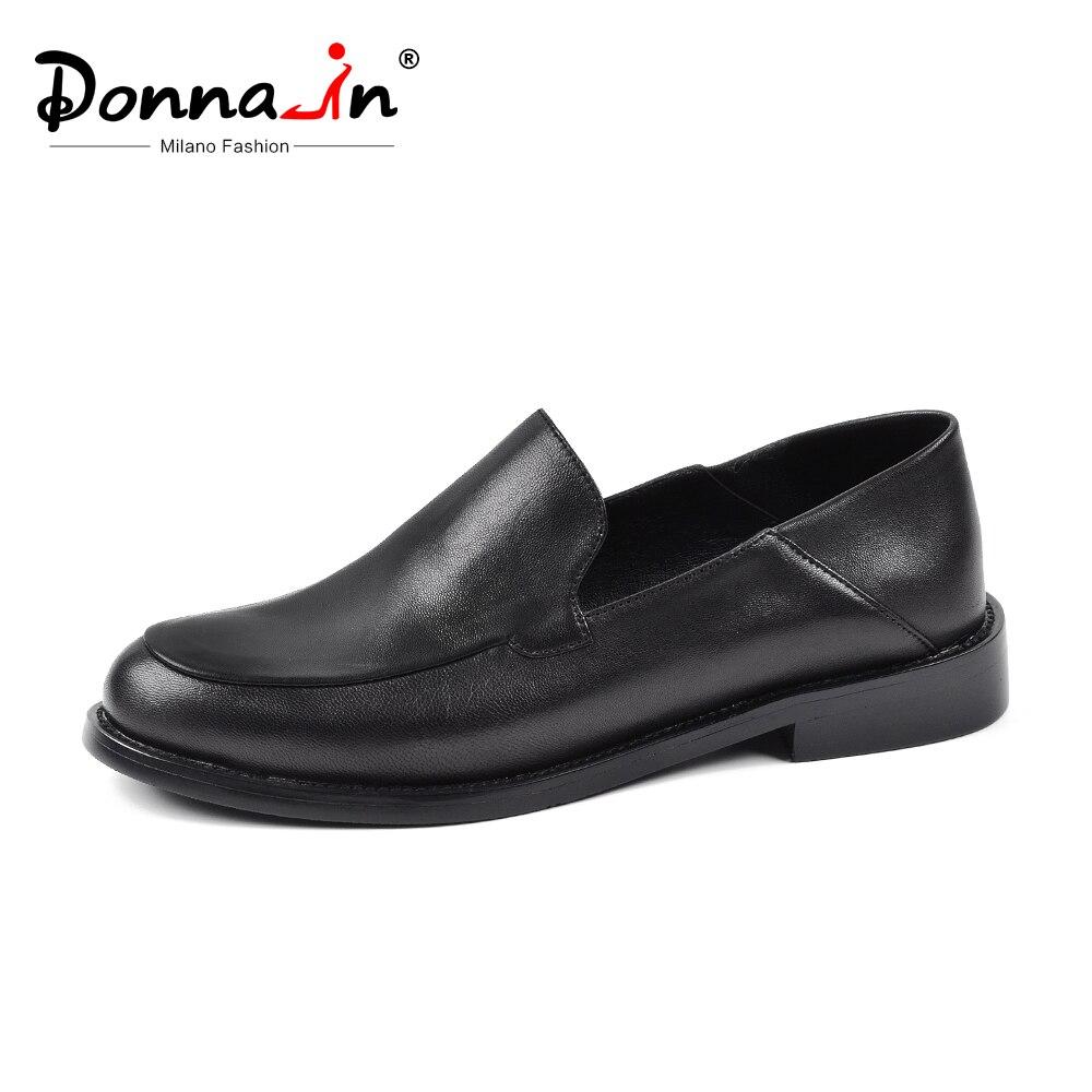 Donna-in noir femmes mocassins chaussures 2019 bout arrondi Mules chaussures plates mocassins chaussures de glissement femmes en cuir véritable printemps chaussures plates pour femme