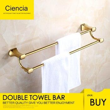 Free Shipping Brass Golden Bath Towel Bar Rack Hanging Towel Bathroom Shower Organization Double Towel bar