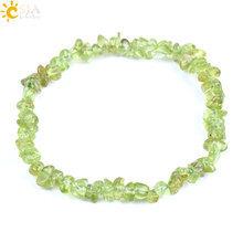 CSJA Irregular Natural Stone Bracelet Olivine Small Gravel Beads Green Crystal Fashion Bangles DIY for Girls Ladies Jewelry F155(China)