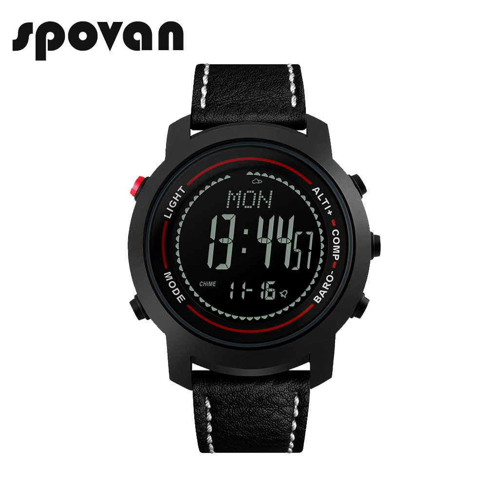 SPOVAN Fashion Black Men's Watch Genuine Leather Band 50M Waterproof Compass Pacer LED Multifunction Men Sport Watches MG01 spovan sc black