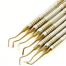 7 個歯科複合樹脂充填へらチタンメッキヘッド樹脂フィラーセット厚いハンドル修復セット歯科用器具