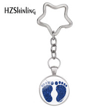 2018 New Fashion Vintage Best Gifts for Mother's Day Key Chain Exquisite Baby Feet Art Picture Pendant Star Keychain Jewelry(China)
