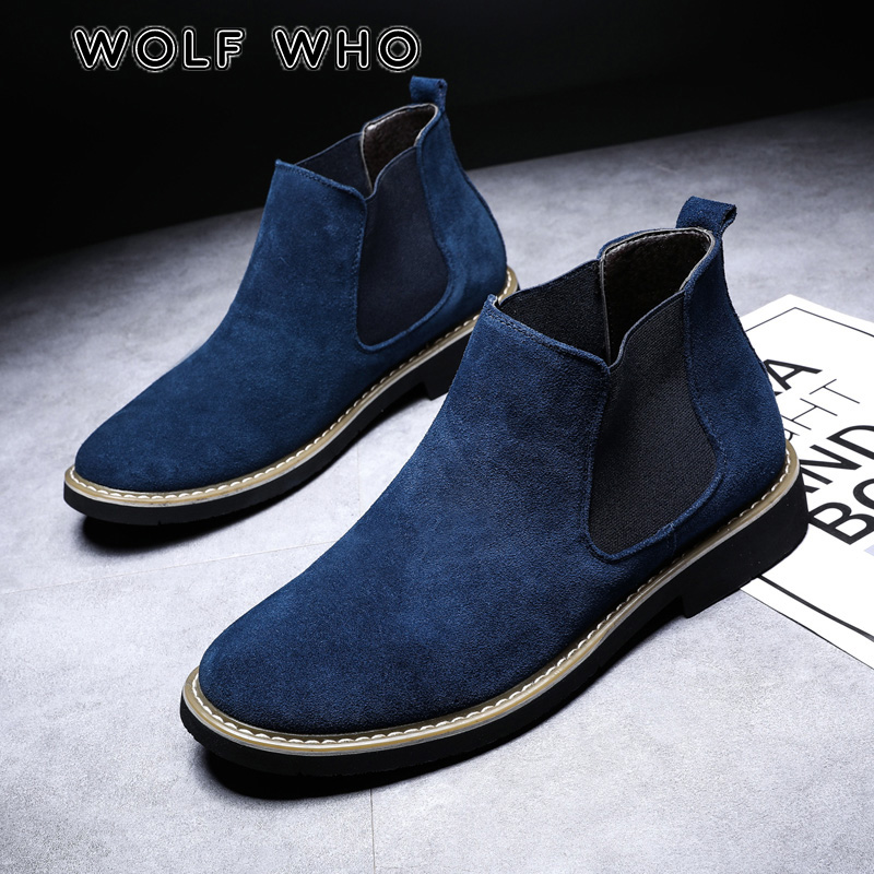 WOLF WHO 2019 Brand Fashion Male Suede Chelsea Boots Men Winter Autumn Fur Warm Casual Shoes Plus Size sneaker buty meskie X-198 image