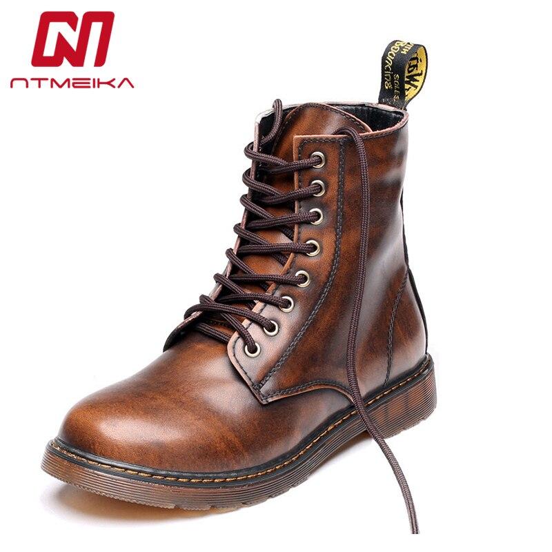 2019 botas de lujo para hombre talla grande 35 47 de alta calidad para hombre cómodas botas de cuero genuino Retro-in Botas básicas from zapatos    1