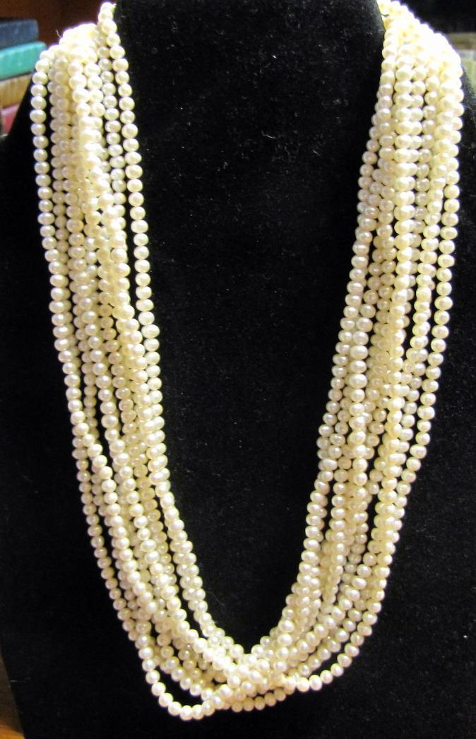 Jew3116 2-3mm naturel du sud mer blanc perle collier 100 inch AAA
