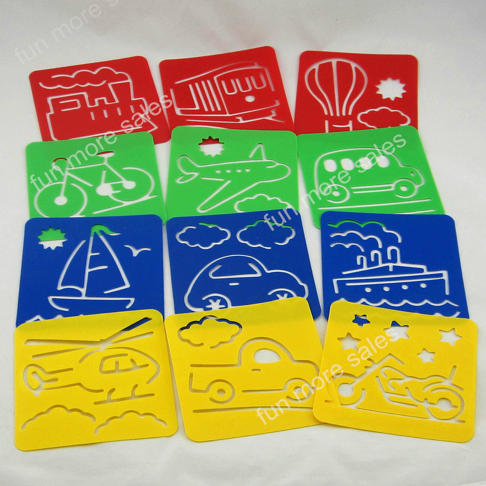 12Designs/set Stencils for painting Transportation tool Kids drawing templates Plastic boards baby hot toys for child 128x128mm