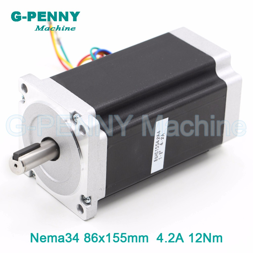 NEMA34 CNC stepper motor 86X155mm 12N.m 4.2A shaft 14mm stepping motor nema34 step 1700Oz-in for CNC engraving machine 3Dprinter 3pcs nema 34 stepper motor 86hs155 6004a single shaft 1700oz in 12n m 6a 155mm cnc engraving