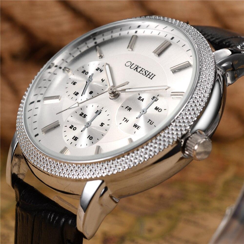 b701de7ccd5 ... QuartzoMarca de Luxo Relógio com Calendário 2017 Masculino Cronógrafo  Luminosa Homens Relógios Militar de Pulso Horas Couro Mans. -30%. 🔍.  Relógios ...
