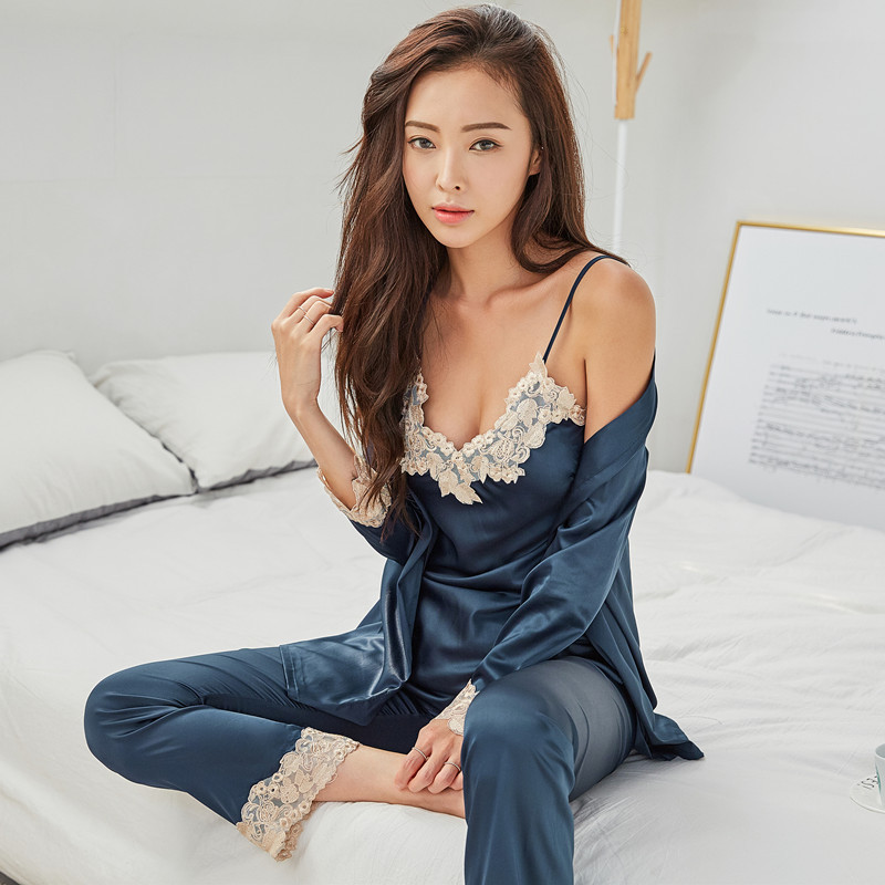 Freshing Summer Sexy Lace 3 Pcs Women Pajama Set  Woman Long Sleeve Camisole Robe Set
