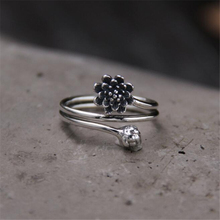NEW 925 Sterling Silver Ring For Women Simple Vintage Lotus Flower & Bud Open Female Engagement Fine Jewelry