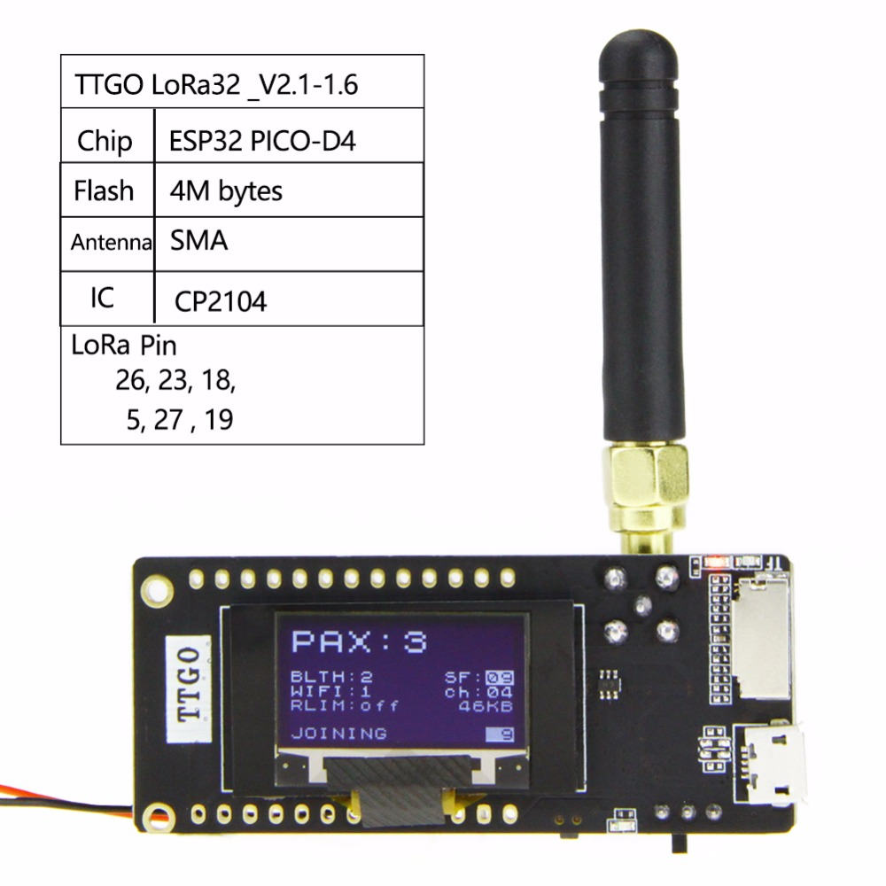 TTGO ESP32-Paxcounter LoRa32 V2.1 1.6 Version 433/868/915MHZ LoRa ESP-32 OLED 0.96 Inch SD Card Bluetooth WIFI Module SMA dog care training collar