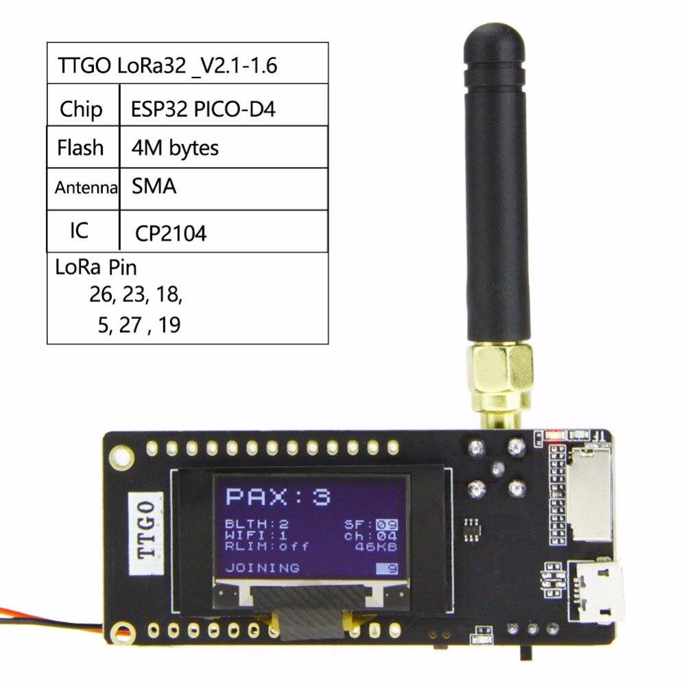 LILYGO®Ttgo ESP32-Paxcounter lora32 v2.1 1.6 versão 433/868/915 mhz lora ESP-32 oled 0.96 Polegada sd cartão bluetooth módulo wi-fi