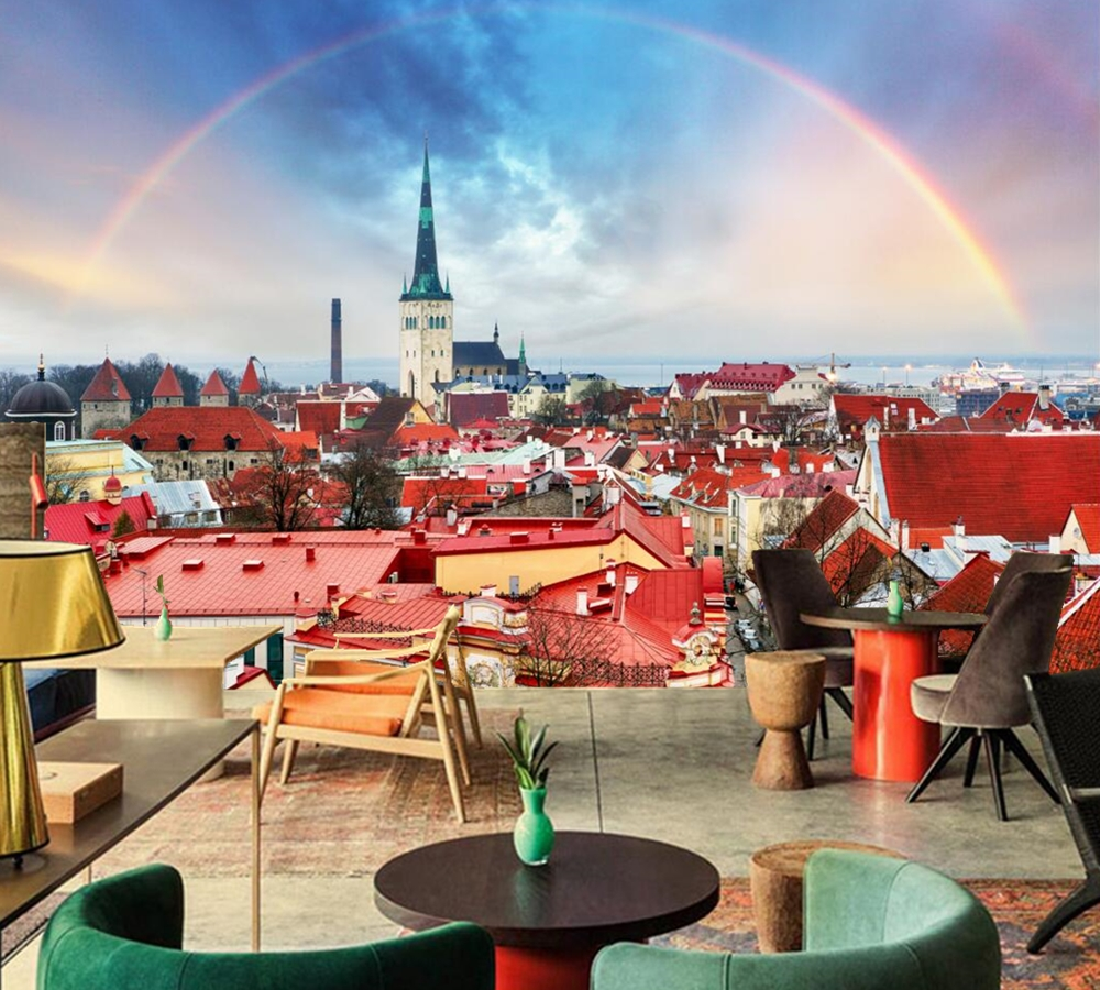 Houses Rainbow Roof Cities photo Building wallpaper,living room TV ...