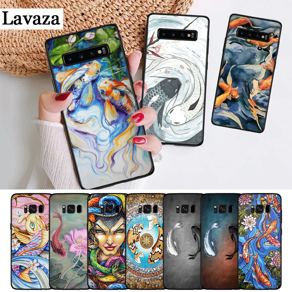 Lavaza Yin Yang Koi Fish Silicone Case for Samsung S6 Edge S7 S8 Plus S9 S10 S10e Note 8 9 10 M10 M20 M30 M40 in Half wrapped Cases from Cellphones Telecommunications