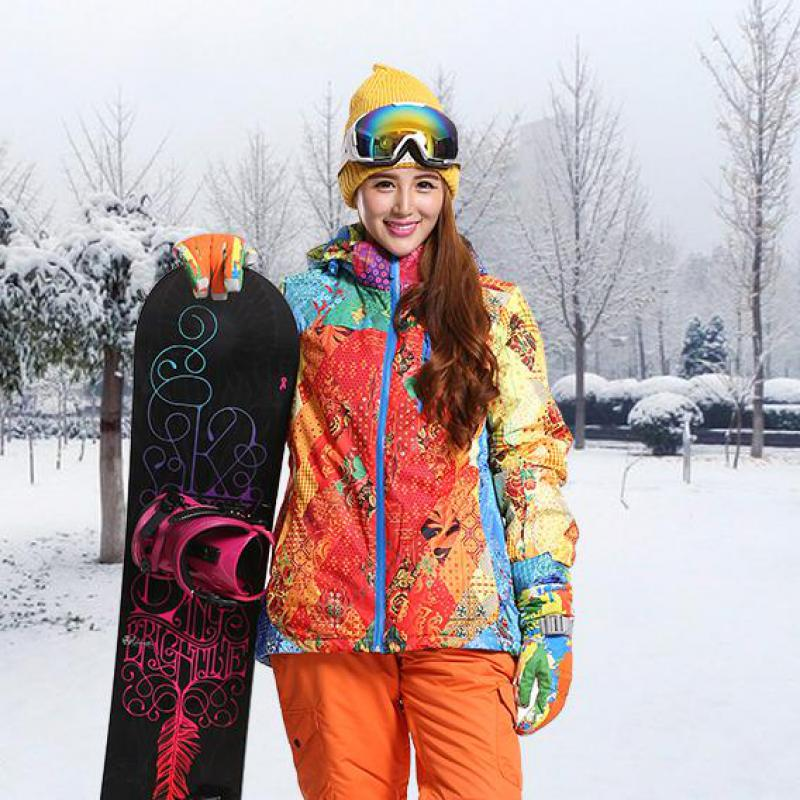 ФОТО Marsnow Women Winter Outdoor Sports Wear Ski Snowboarding Anti Wind Cotton Padded hooded Colorful Jacket Thick And Warm S-2XL