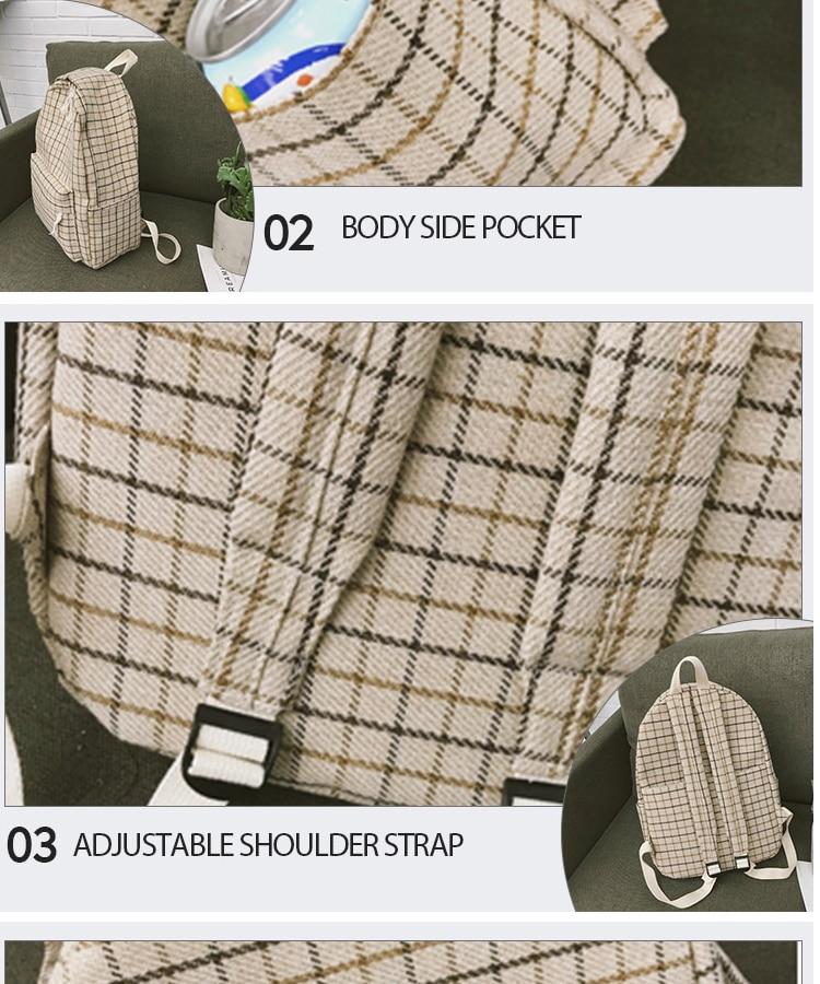 HTB1S36ZPbvpK1RjSZPiq6zmwXXaZ 2 Pieces Japan style Plaid Style Women Backpack Pencil Case Student Girl School Bag Travel Shoulder Bag For Women 2019 Bagpack