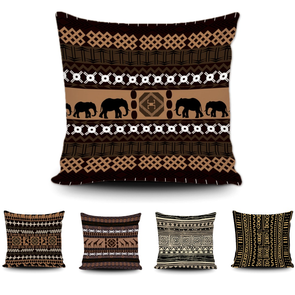 Art African Geometric Cushion Cover Brown Giraffe Elephant