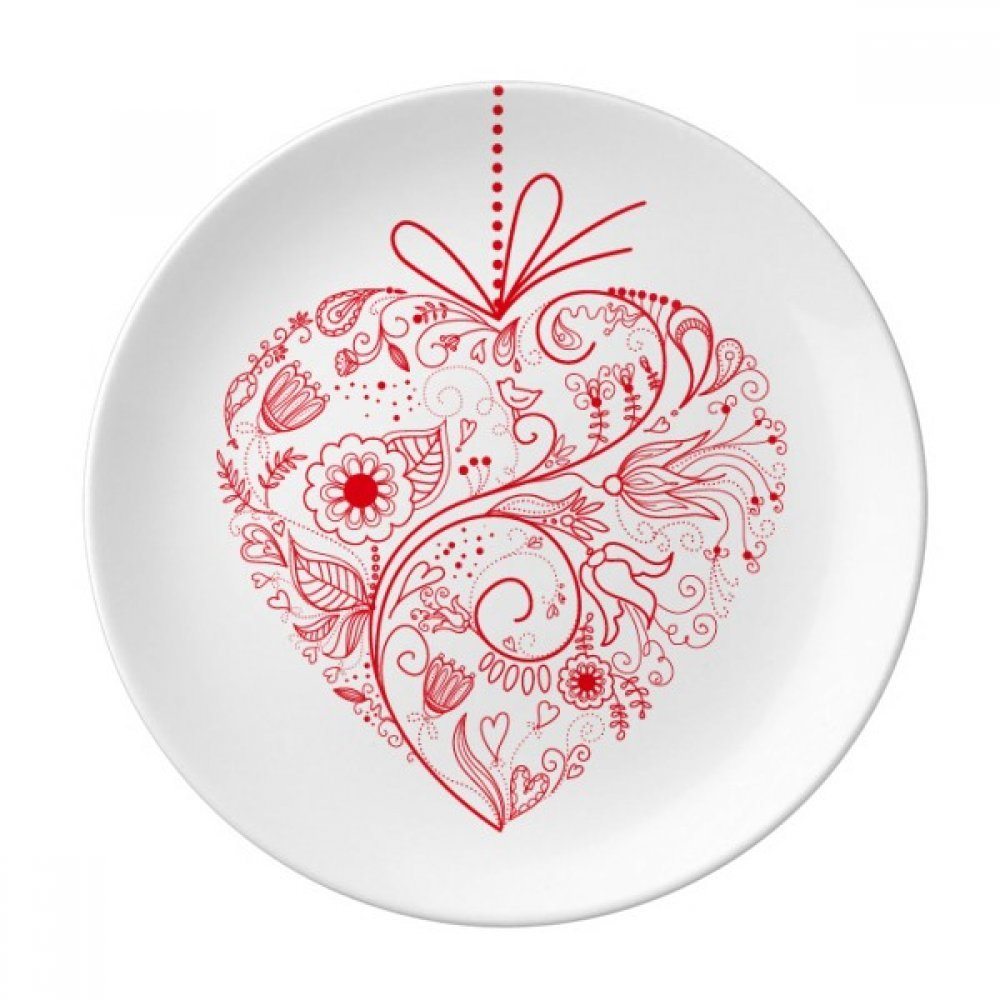 Flowers Vines Valentine's Day Red Dessert Plate Decorative Porcelain 8 inch Dinner Home