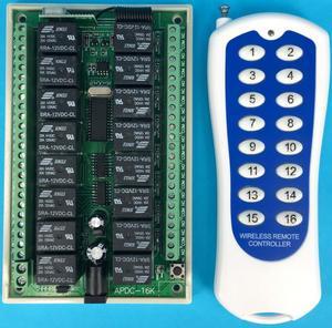 Image 1 - 1000 متر طويلة المدى DC12V 16CH راديو تحكم جهاز ريموت كنترول لا سلكي يعمل بالتردد الراديوي نظام التبديل 1 قطعة جهاز إرسال + 1 قطعة استقبال