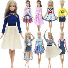 1 комплект модная многоцветная наряд платье Wave Point рубашка джинсовая юбка в клетку на каждый день повседневная одежда аксессуары Одежда для куклы Барби