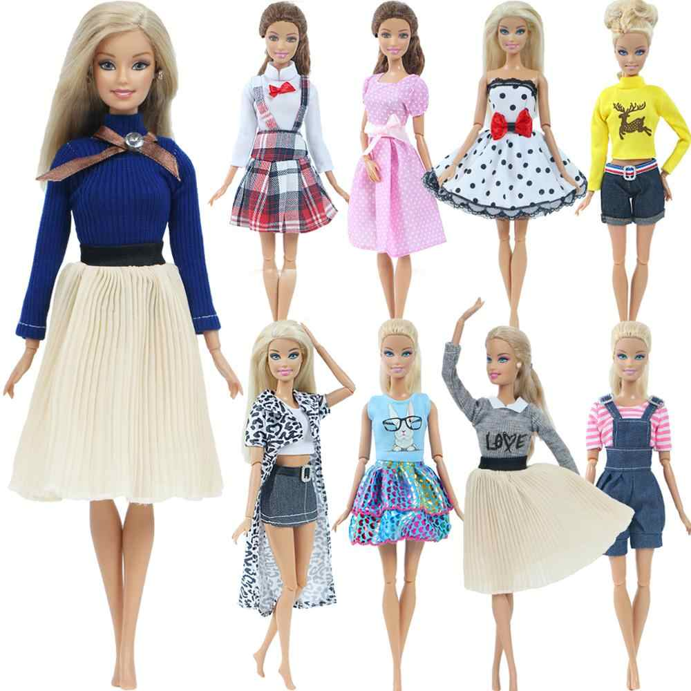 1 ensemble mode multicolore tenue vague Point robe chemise Denim grille jupe quotidienne tenue décontracté accessoires vêtements pour poupée Barbie