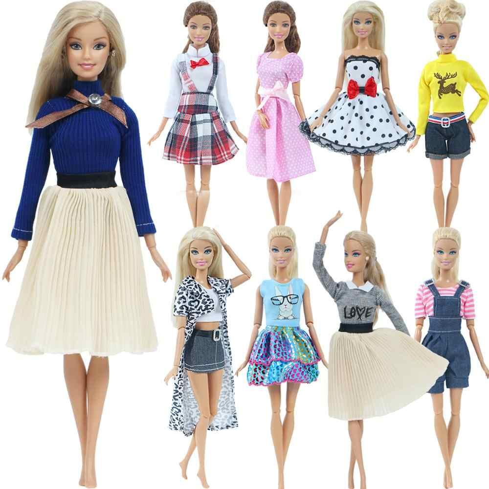 1 Conjunto de moda Multicolor Vestido de punto de ondas camisa Denim Falda de rejilla ropa Casual diaria accesorios ropa para muñeca Barbie